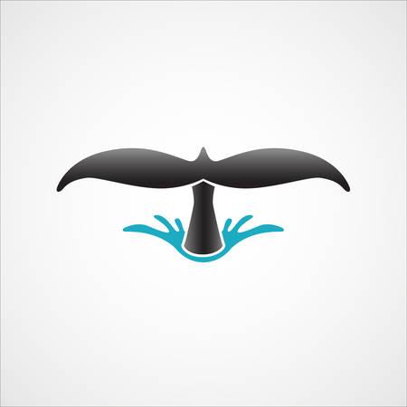 duiken walvis staart teken badge op een witte achtergrond