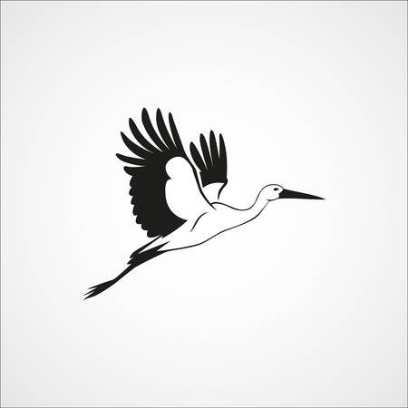 flying stork simple silhouette on a white background vector illustration
