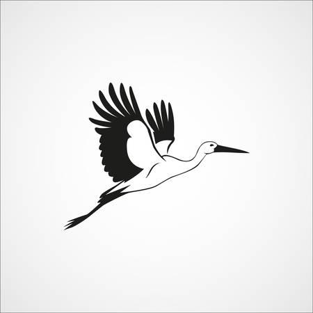 volar la cigüeña silueta simple sobre un fondo blanco ilustración vectorial Ilustración de vector