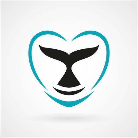 whale dolphin tail hart teken embleem vector illustratie