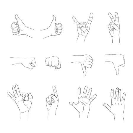 handen gebaren die op witte achtergrond Stock Illustratie