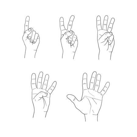 handen vingers cijfer set op een witte achtergrond