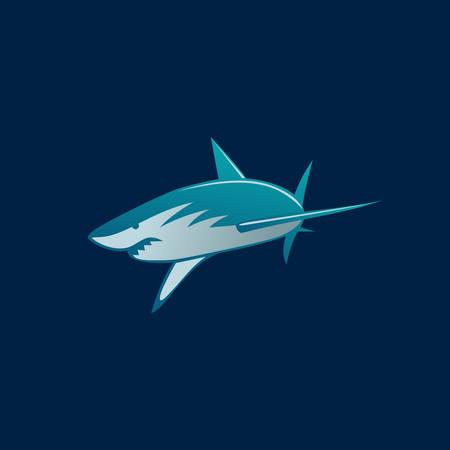 haai aanval teken op donkere achtergrond vector illustratie