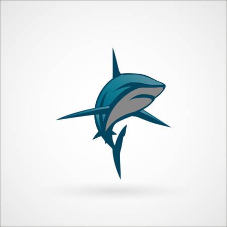 great white shark: shark blue sign vector illustration isolated