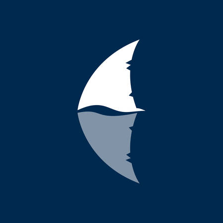 killer waves: shark fin sign on dark blue background
