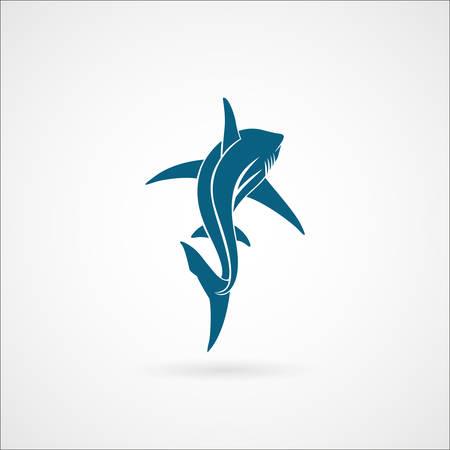 Shark varen ver weg te ondertekenen op een witte achtergrond vector illustratie Stock Illustratie