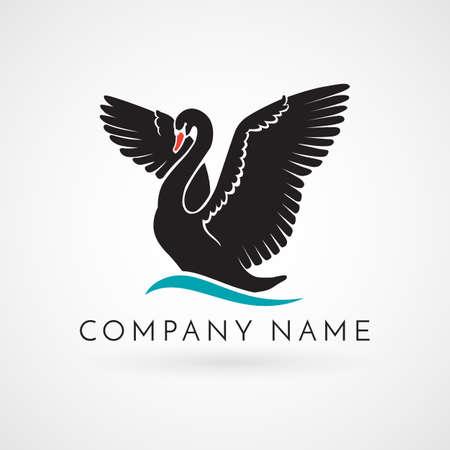 Zwarte zwaan op wave logo teken embleem op witte achtergrond