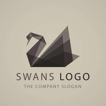 zwarte zwaan logo teken embleem origami vector illustratie
