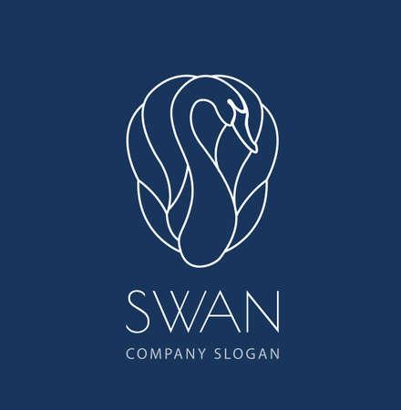Zwaan lijn logo teken embleem op blauwe achtergrond vector illustratie
