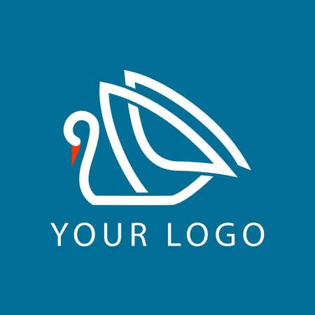 salon background: swan line logo sign emblem vector illustration
