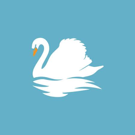 witte zwanen silhouet logo teken embleem vector illustratie
