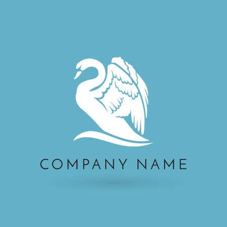 witte zwaan op wave logo teken embleem op blauwe achtergrond Stockfoto