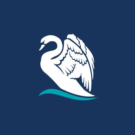 witte zwaan op het embleem van het embleemteken van het golfembleem op donkerblauwe achtergrond