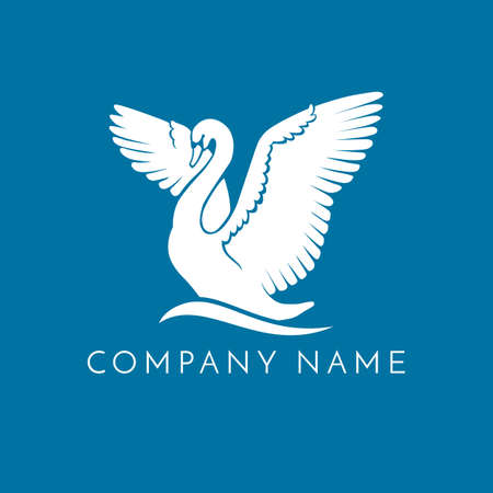 white swan on wave logo sign emblem on blue background