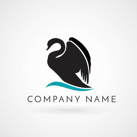 Zwarte zwaan op golf logo teken embleem geïsoleerd vector illustratie