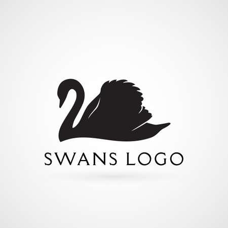 Zwaan zwemmen silhouet logo teken embleem vector illustratie Stockfoto