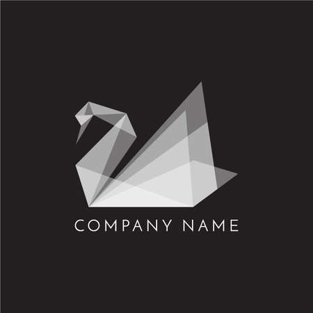 Zwaan logo teken embleem origami op zwarte achtergrond vector illustratie