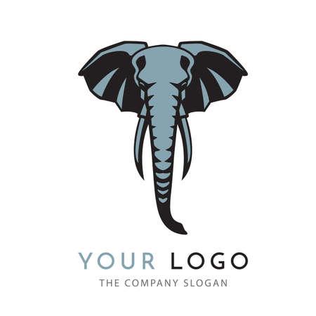hoofd olifant logo teken embleem geïsoleerd Stockfoto
