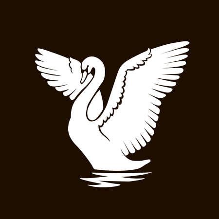 Wit zwaan logo teken embleem op zwarte achtergrond