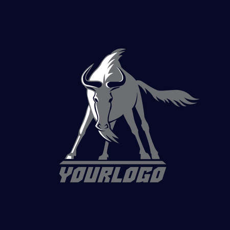 front wildebeest logo teken vector illustratie op donkerblauwe achtergrond