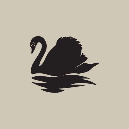reflection: black swan swimming reflection vector illustration
