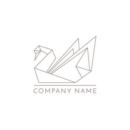 Zwaan logo origami lijn bord op witte achtergrond