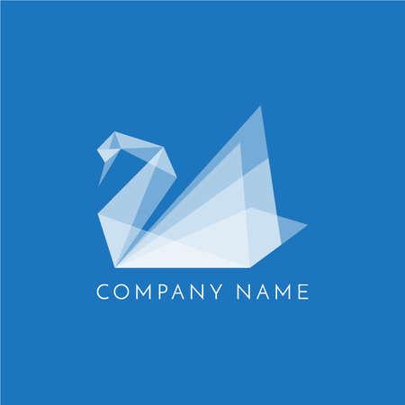 Zwaan logo origami teken op blauwe achtergrond
