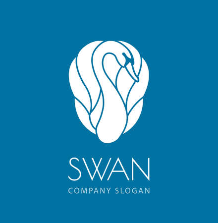 witte zwaan logo teken embleem op blauwe achtergrond vector illustratie Stockfoto