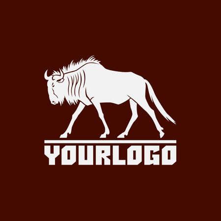 wildebeest logo sign vector illustration on brown background Stock Photo