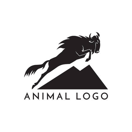 wildebeest jumping logo sign vector illustration on white background