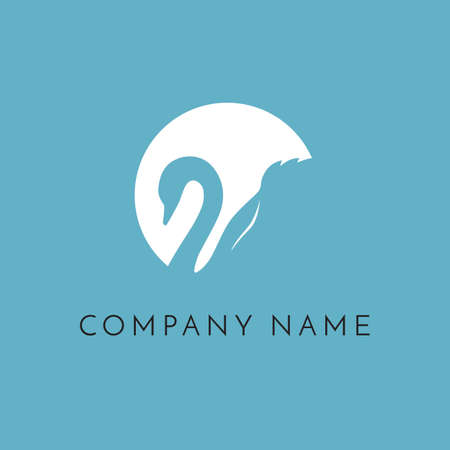 swan in circle logo sign emblem on blue background Stock Photo
