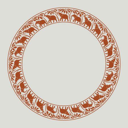 olifanten en palmbomen cirkel rond ornament Stockfoto