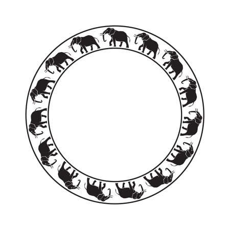 Olifanten cirkel rond ornament op witte achtergrond Stockfoto