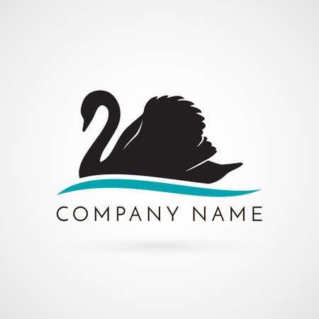 Zwarte zwaan zwemmen op wave logo teken embleem op witte achtergrond