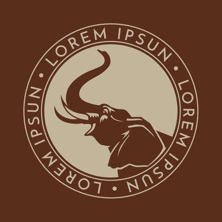 elephant in circle sign logo emblem on brown background
