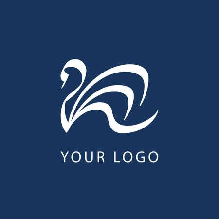 Zwaan logo teken embleem lijn abstract op blauwe achtergrond