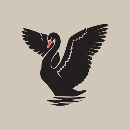 Zwarte zwaan reflectie logo teken embleem Stockfoto