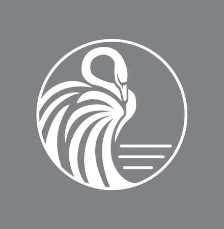 Wit zwaan logo teken embleem in cirkel vector illustratie Stockfoto
