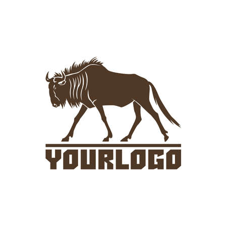 wildebeest logo teken vector illustratie op een witte achtergrond