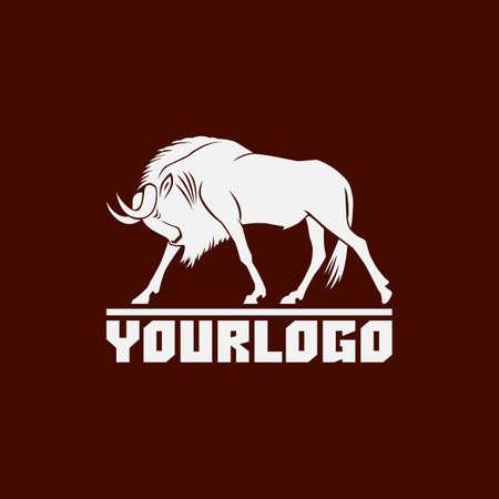 wildebeest logo sign vector illustration on brown background Reklamní fotografie