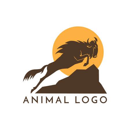 Wildebeest Logo Zeichen Vektor-Illustration auf weißem Hintergrund Standard-Bild - 87635818