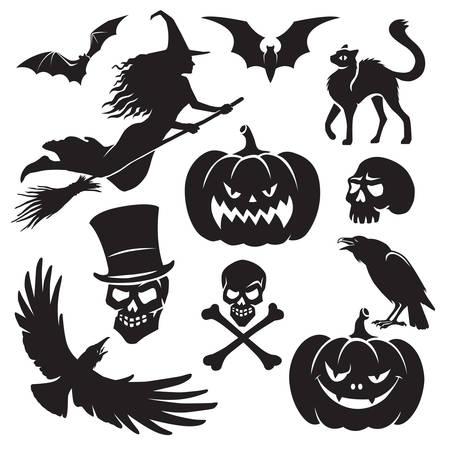 Halloween black silhouette set