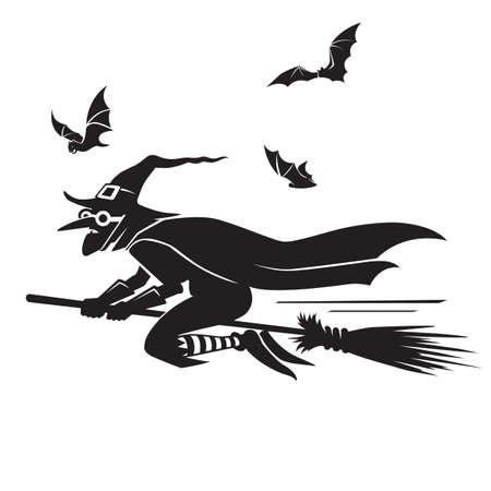 vliegende heks en vleermuizen silhouet vector illustratie geïsoleerd Stockfoto
