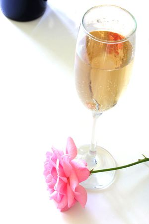 White Wine and Rose Stock Photo - 729051