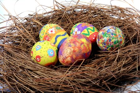 easter Eggs on a Nest Stock Photo