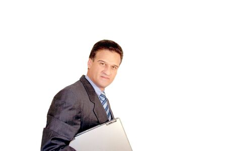 Businessman with Laptop under his arm Stock Photo - 3068375