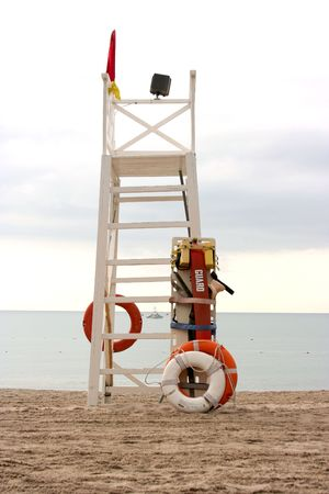 Life Guard Tower on a beach Stock Photo