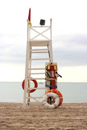 coast guard: Life Guard Tower on a beach Stock Photo