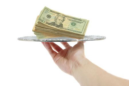Money on a tray