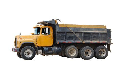 camion volteo: Cami�n volquete amarillo aislados en blanco Foto de archivo